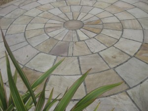 indian sandstone circle installed by kilkea stone yard
