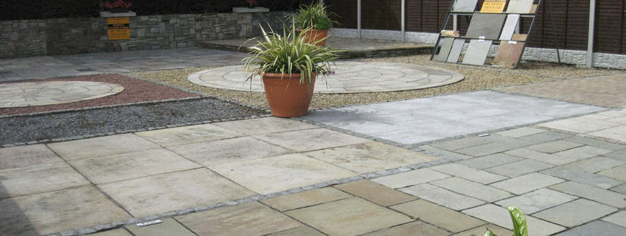 paving and patio display at kilkea stone yard